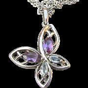 Amethyst & Blue Topaz Sterling Silver BUTTERFLY Vintage Pendant Necklace