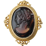 Gorgeous Signed FLORENZA Dark Amber Molded Glass Vintage Cameo Pin