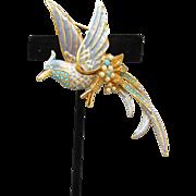 Spectacular! Nolan Miller Turquoise Rhinestone, Faux Pearl & Blue Enamel Bird of Paradise Pin