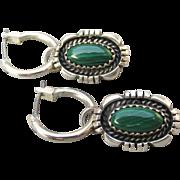 Signed Emily Spencer Vintage Native American Navajo Sterling Silver Malachite Charm Dangle Hoop Pierced Earrings