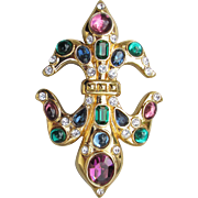 Michaela Von Habsburg MVH Heraldic Cross Gold Tone Jeweled Vintage Slide Enhancer Rhinestone Pendant
