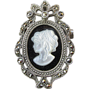 Pretty Sterling Silver & Marcasite Carved Shell White Mother-of-Pearl on Black Onyx Vintage CAMEO Pin or Pendant