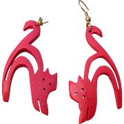 1980's Vintage BIG Red Cat Dangle Light Weight Wood Earrings