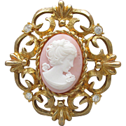 R.J. Graziano Signed Faux Angel Skin Coral & Rhinestone Ornate Gold Tone CAMEO Vintage Pin or Pendant