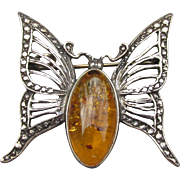 Sterling Silver Vintage Baltic Amber BUTTERFLY Pin