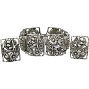 "Fabulous Chunky 1963 Sarah Coventry ""Antique Garden"" Vintage Bracelet & Earrings Set"