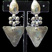 Hammered Pewter 1980's BIG Dangle Vintage PUNK Earrings
