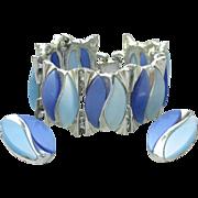 Big 1950's Chunky Modernist Blue Thermoset Wide Silver Tone Bracelet & Earrings Set