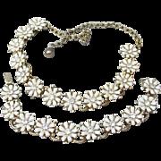 Early CORO Daisy Flower Rhinestone Vintage Necklace & Earrings Set