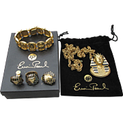 MINT In Box - RARE Signed Erwin Pearl 1970's Egyptian Revival King Tut Parure - Necklace, Bracelet, Earrings, Ring Set
