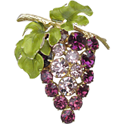 Dated 1965 Vintage Signed HOBE' Purple Rhinestone & Green Enamel GRAPE Bunch Pin