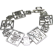"Wide Vintage Sterling Silver Chinese Good Luck Symbols Open Work Link Toggle Bracelet, Size XL 8 1/2"" Long"