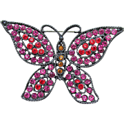 Signed WEISS Big BUTTERFLY Shocking Pink & Red Rhinestone Japanned Black Enamel Vintage Pin