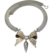 1940's Retro Silver & Gold Tone Wide Flat Chain with BOW Pendant Necklace