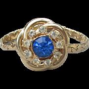Pretty 1940's Retro Blue Rhinestone Gold Tone Chain Bracelet, MINT Condition!