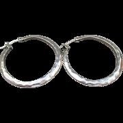 Sterling Silver Hammered Flat Vintage Hoop Earrings