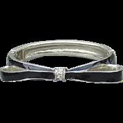 Black Enamel BOW Silver Tone Rhinestone Vintage Clamper Hinged Bangle Bracelet
