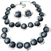 MINT! 1950's Vintage Dark Gray Moonglow Thermoset Signed CORO Parure, Necklace, Bracelet, Earrings Set