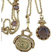 Vintage Goldette Victorian Revival 5 Strand LONG Chain Necklace, Open Back Crystals, Cameo Fob & Amber Cameo Intaglio Pendants