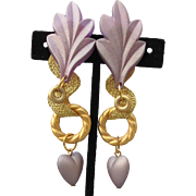 "1980's Vintage Lavender Lucite 3 3/4"" Long Gold Tone Shoulder Duster Clip Earrings"
