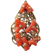 Antique Victorian Branch Coral on Gold Tone Filigree Pendant