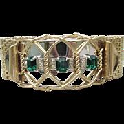 Jacques Kreisler 1940's Retro Gold Tone Mesh & Emerald Rhinestone Wide Bracelet