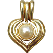 Nolan Miller Vintage Interchangeable Faux Pearl & Rhinestone Heart Shaped Pendant for Necklace