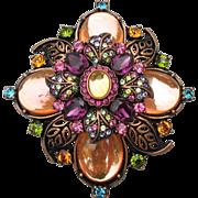 Spectacular Joan Rivers Multi Color Rhinestone & Mirror Glass Cabochon BIG Flower Copper Pin