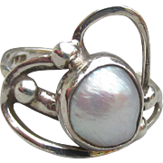 Pretty Modernist Blister Pearl Sterling Silver Ring, Size 7