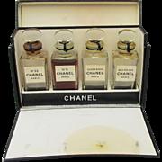 1940's Vintage CHANEL Perfume Set in Box- No.5, No.22,  Bois Des Iles, Cuir De Russie