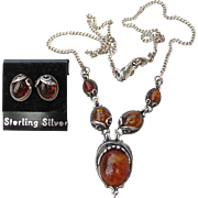 Genuine Honey AMBER Sterling Silver Pierced Earrings & Necklace Vintage Set, NEW on Card!