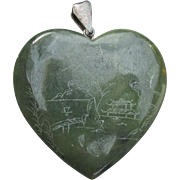 Big Vintage Heart Shaped Engraved Spinach Green Serpentine Pendant