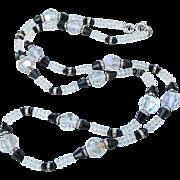 """Pretty 30"""" Long Vintage 1950's Aurora Borealis Crystal & Black Bead Necklace"""