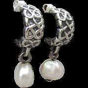 Dainty Dangle Fresh Water Pearl Sterling Silver Demi Hoop Pierced Earrings