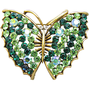 Sparkling BEAUTY! Signed Lisner Green Rhinestones Vintage BUTTERFLY Pin