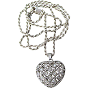 Sterling Silver & Diamond Open Work Puffy Heart Vintage Necklace