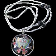Liquid Sterling Silver & Guilloche Enamel BUTTERFLY Pendant 1970's Vintage Necklace