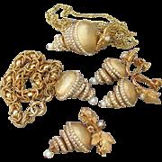 SEE Rare VENDOME Dangle Rhinestone Articulated Bells Necklace, Brooch, Earrings, Bracelet Vintage Parure