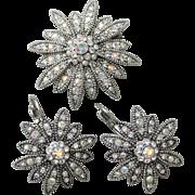 1990's Vintage Signed Joan Rivers Swarovski AB Rhinestone DAISY Flower Pin & Lever Back Earrings Set