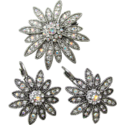 1990's Vintage Signed Joan Rivers Swarovski AB Rhinestone DAISY Flower Pin & Lever Back Earrings Set