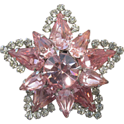 Brilliant Signed WEISS 1950's Pink Rhinestone Star Pin