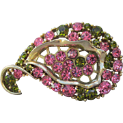 1960's Vintage Signed LISNER Lime Green & Pink Rhinestone Mid-Century Modern Comma Pin