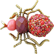 1990's Vintage Joan Rivers Orange Rhinestone Gold Tone SPIDER Pin
