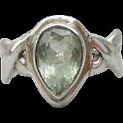 Italian Tear Drop Green Amethyst Prasiolite Braided Vintage Sterling Silver Ring, Size 8