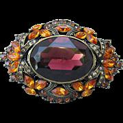 1990's Vintage Joan Rivers BIG Amber Glass & Orange Rhinestone Antiqued Brass Autumn Pin