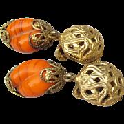 1950's Vintage Signed FREIRICH Orange Aventurine Venetian Glass Dangle Earrings