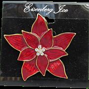NEW On Card! Signed Eisenberg Ice Vintage 1970s Poinsettia Enamel Rhinestone Brooch