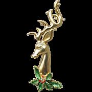 BIG Signed JJ Rhinestone & Enamel Reindeer Head Vintage Christmas Pin