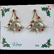 Christmas Tree 1960's Vintage Rhinestone Clip Earrings, Mint on Card Signed VIRO