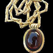 Long Signed MONET Modernist Dark Amber Glass Cabochon Pendant Necklace